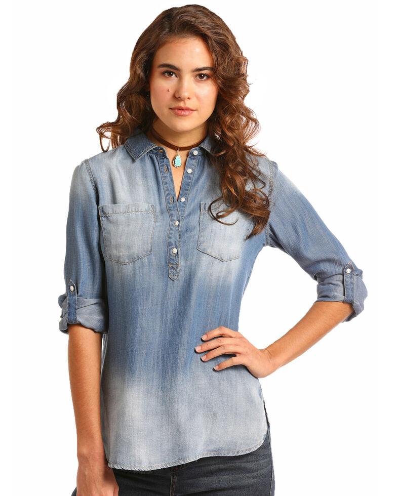 Rock & Roll Cowgirl Women's Tunic Length Button Down Shirt, Blue, hi-res