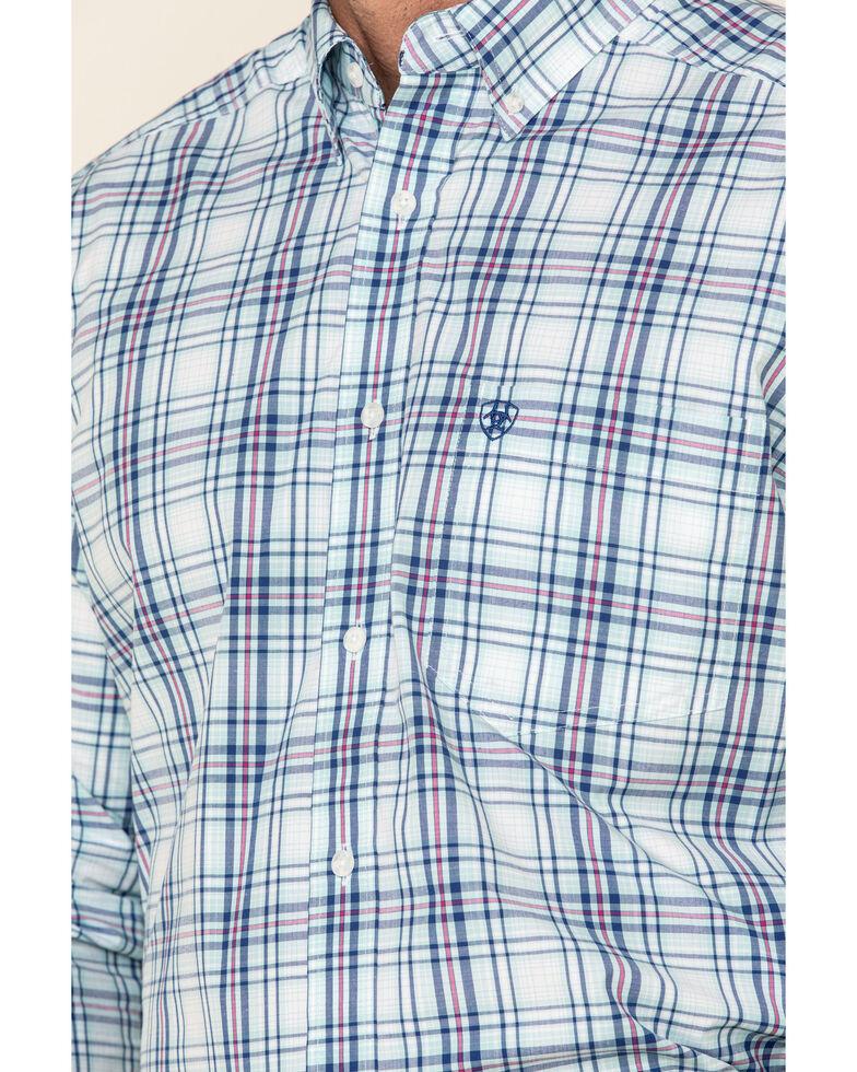 Ariat Men's Gomes Med Plaid Long Sleeve Western Shirt - Big , Light Blue, hi-res