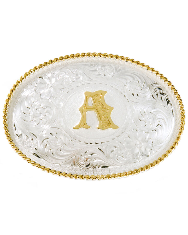 """Montana Silversmiths Initial """"A"""" Buckle, Silver, hi-res"""