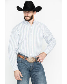 George Strait by Wrangler Men's Small Plaid Multi-Color Long Sleeve Western Shirt, Cream, hi-res