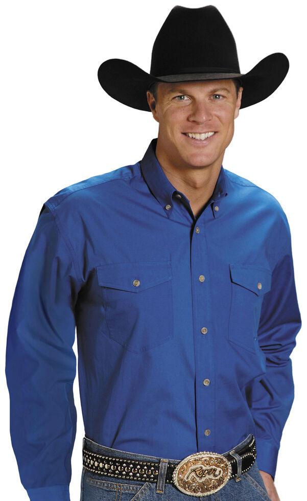 Roper Poplin Western Shirt - Big & Tall, Blue, hi-res