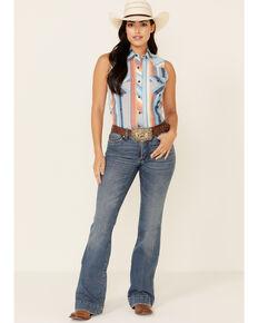 Rock & Roll Denim Women's Aztec Stripe Snap Sleeveless Western Shirt , Turquoise, hi-res