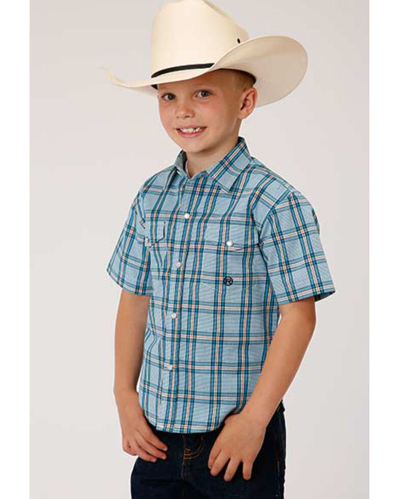 Amarillo Boys' Cold Creek Plaid Short Sleeve Western Shirt , Turquoise, hi-res
