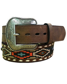 Roper Men's Brown Navajo Print Leather Belt , Brown, hi-res