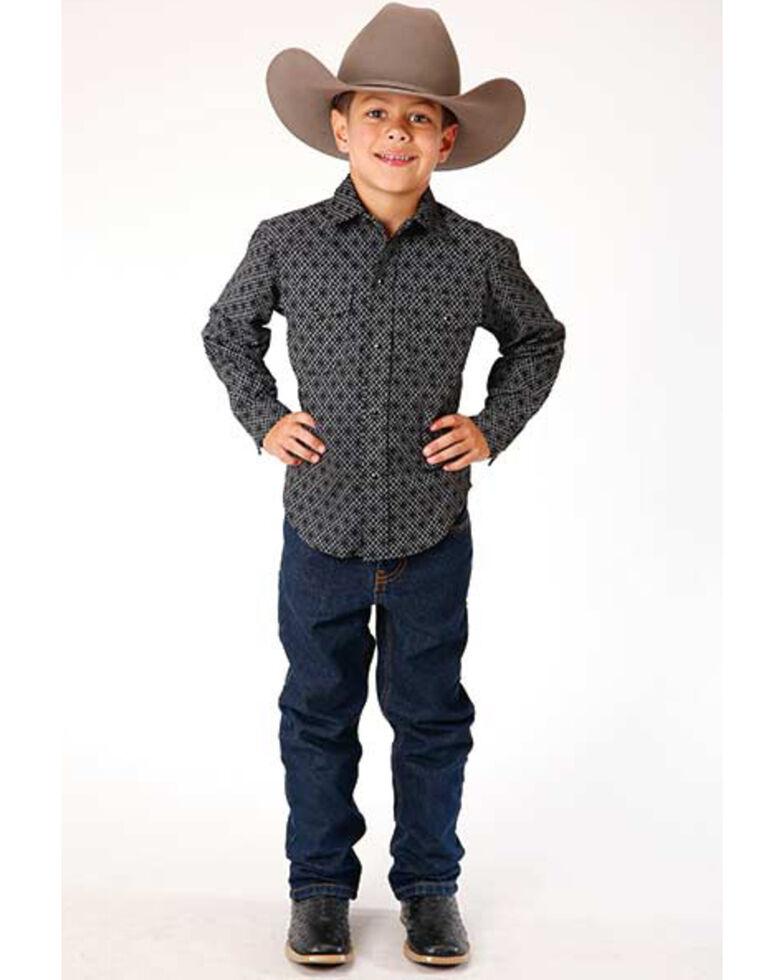 Roper Boys' Black Dotted Geo Print Long Sleeve Western Shirt , Black, hi-res