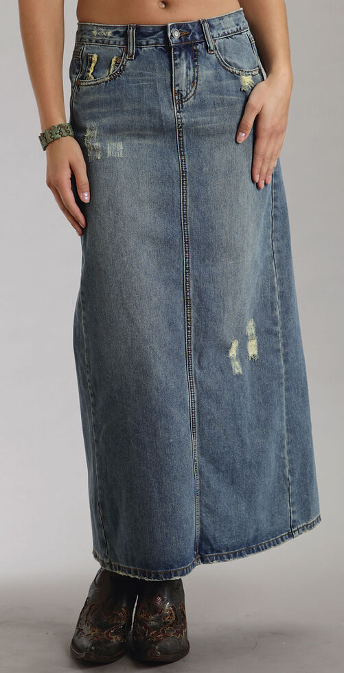 46bbcca091 Zoomed Image Stetson Distressed Denim Long Skirt, Denim, hi-res