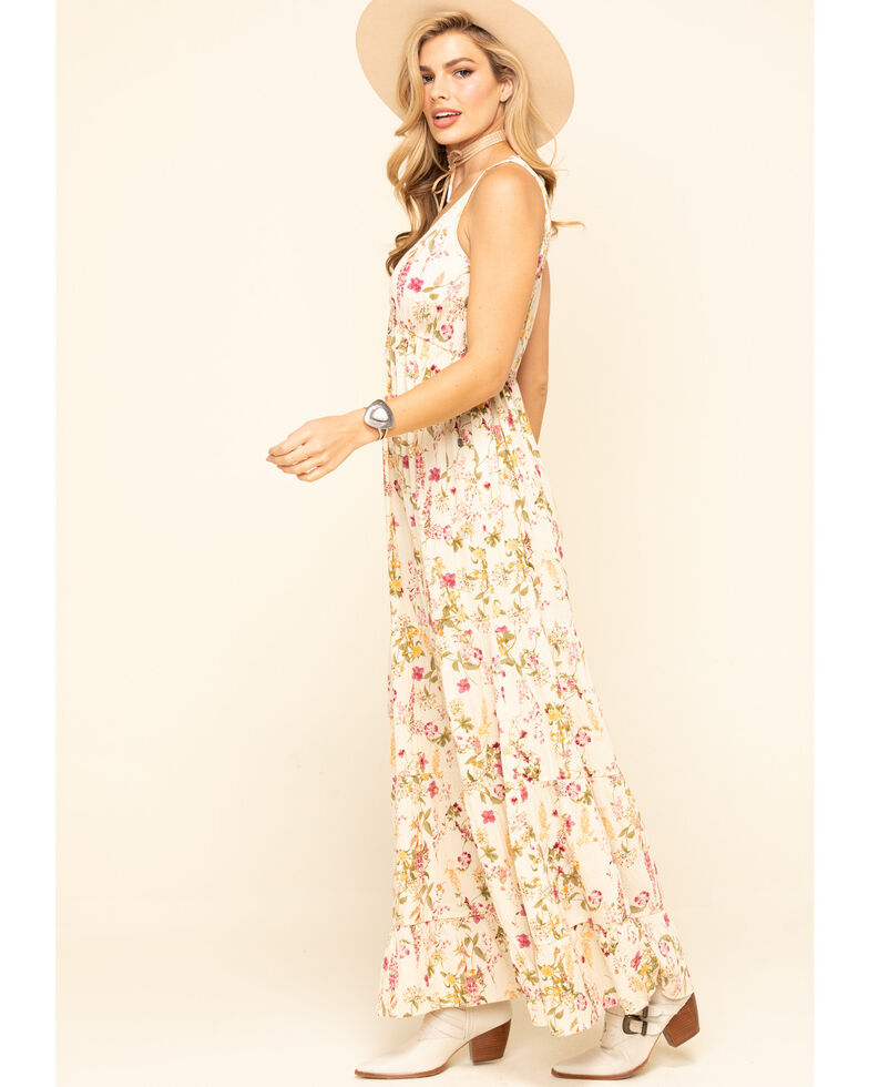 Band of Gypsies Women's Ivory Floral Tank Maxi Dress, Ivory, hi-res