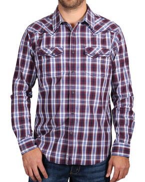 Cody James Men's Western Plaid Long Sleeve Shirt , Burgundy, hi-res