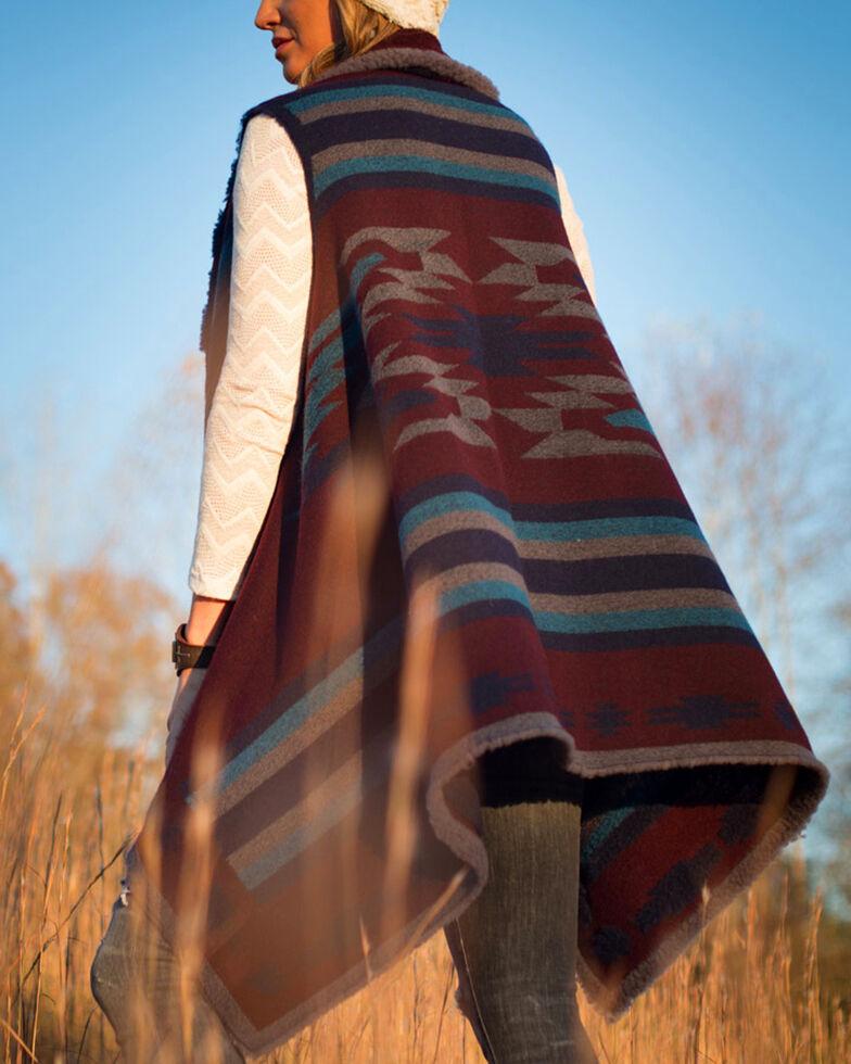 Ryan Michael Women's Cabernet Reversible Native Shawl , Red, hi-res