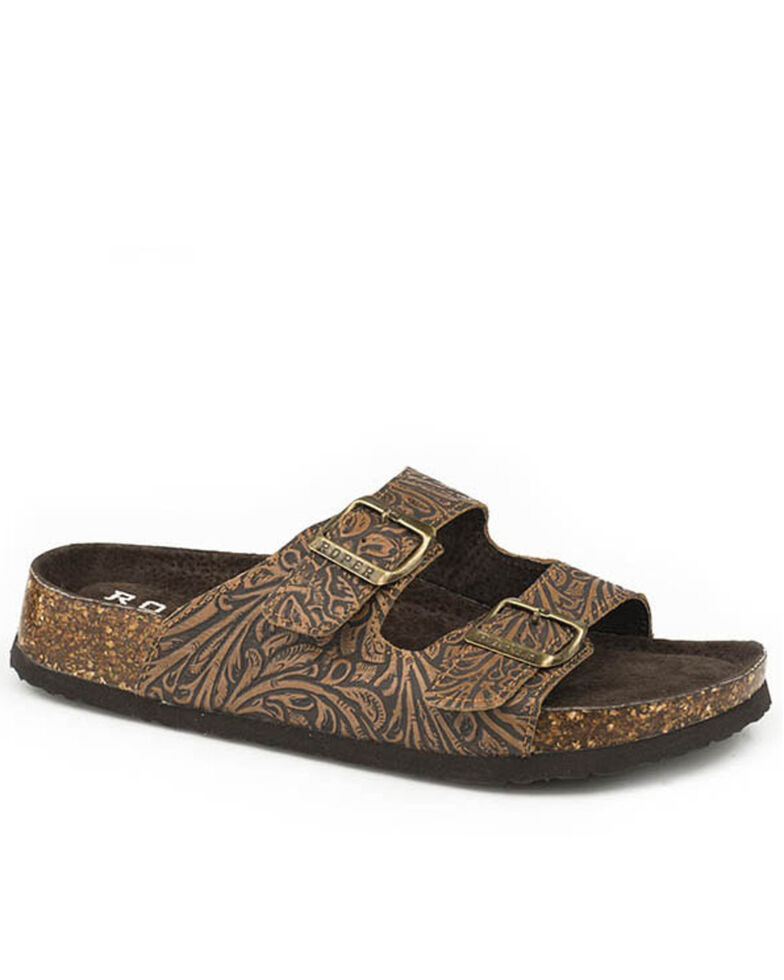 Roper Women's Brown Embossed Leather Sandals, Tan, hi-res