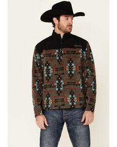 Ariat Men's Boardwalk Aztec Print Basis 2.0 1/4 Zip-Front Pullover , Grey, hi-res
