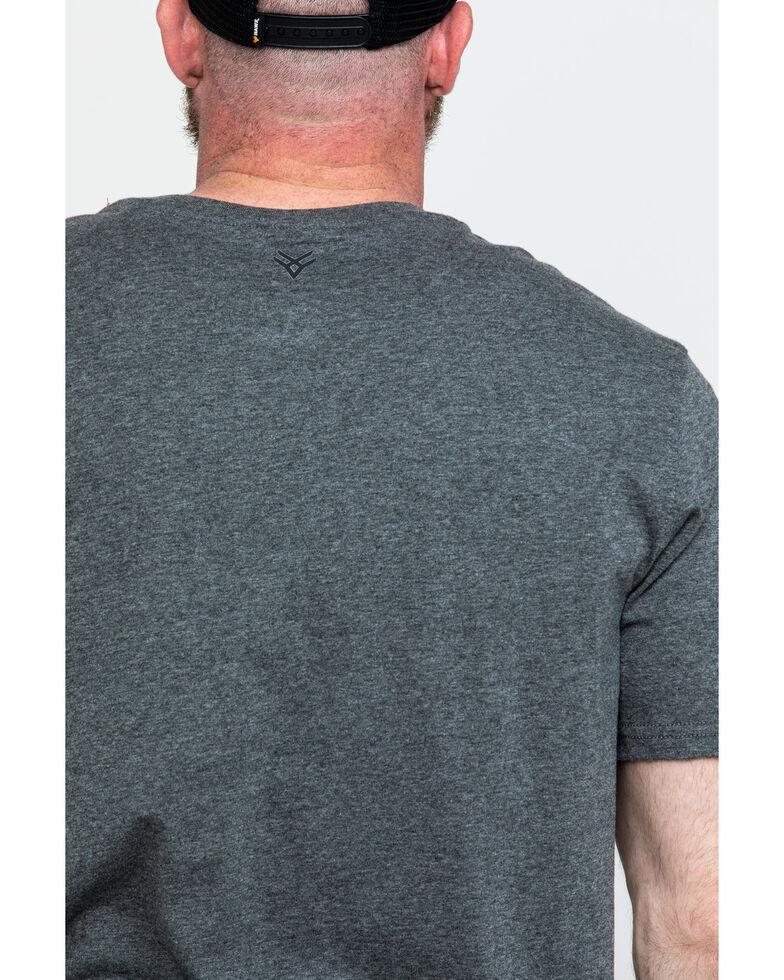 Hawx Men's Pocket Henley Short Sleeve Work T-Shirt - Tall , Charcoal, hi-res