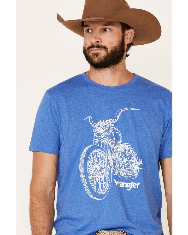 Wrangler Men's Blue Motorcycle Logo Graphic T-Shirt , Blue, hi-res