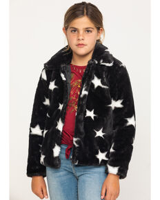 Jack & Anna Girls' Black & White Star Faux Fur Coat, Black, hi-res