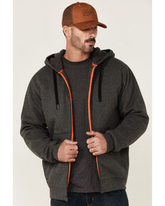 Hawx Men's Charcoal Sherpa-Lined Zip-Front Hooded Work Jacket , Charcoal, hi-res