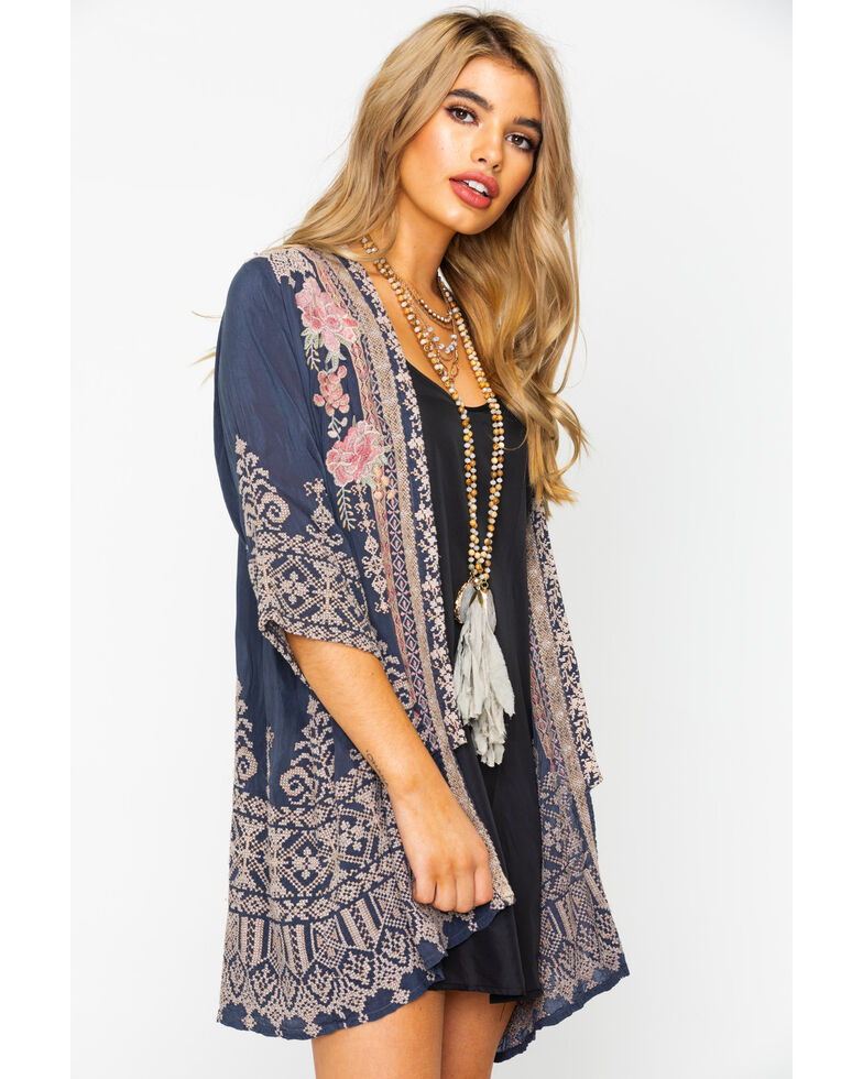 Johnny Was Women's Helena Kimono, Steel, hi-res