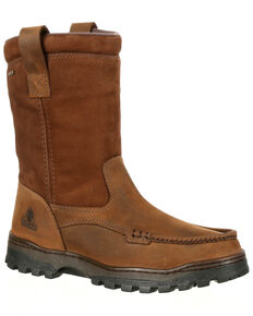 Rocky Men's Outback Waterproof Work Boots - Moc Toe, Brown, hi-res