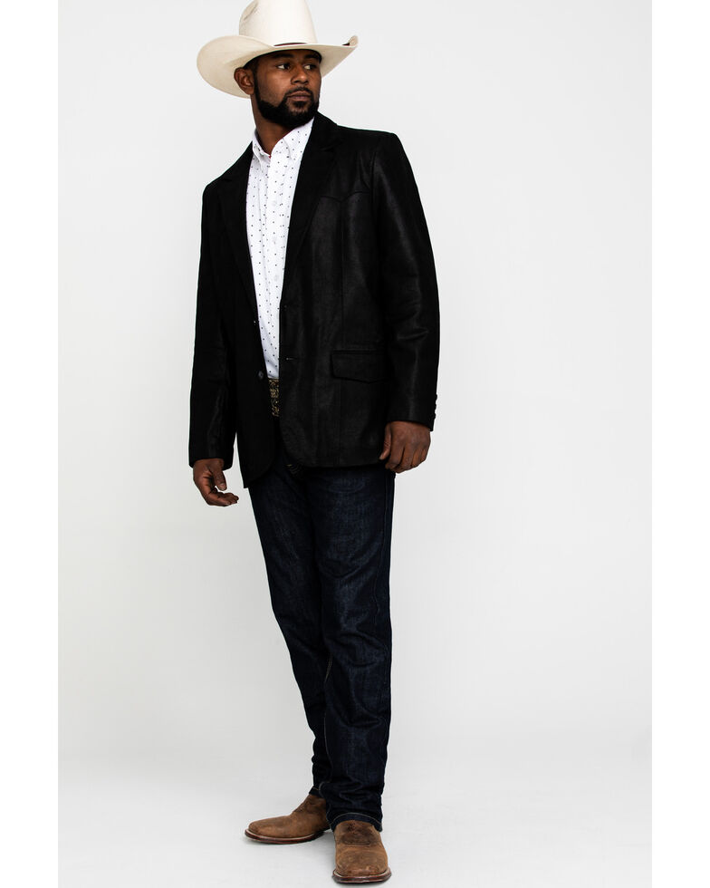 Cody James Men's Black Suede Blazer Jacket - Big & Tall , Black, hi-res