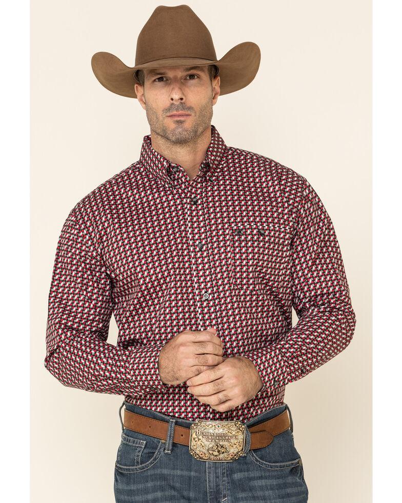 Wrangler Men's Classic Black Geo Print Long Sleeve Western Shirt , Black, hi-res
