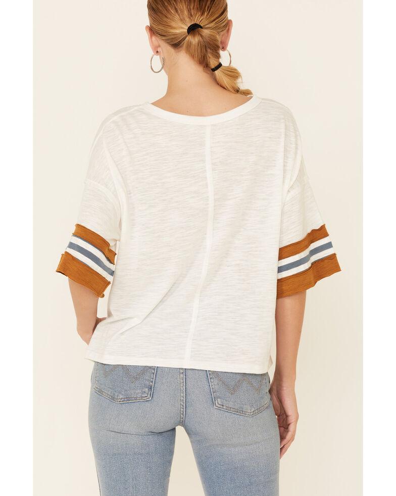 Wishlist Women's Ivory & Cognac Oversized Short Stripe Sleeve Tee , Ivory, hi-res