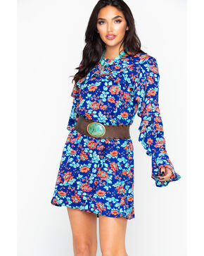 Rock & Roll Cowgirl Women's Floral Print Flounce Detail Long Sleeve Dress , Multi, hi-res