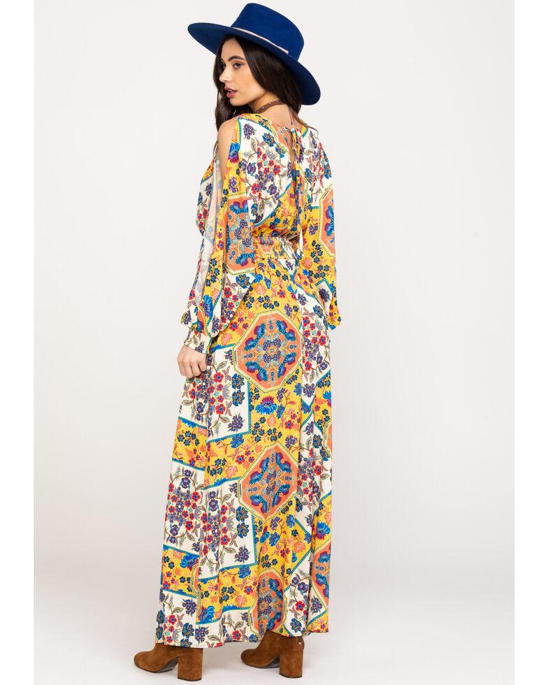 Flying Tomato Women's Yellow Tile Print Slit Sleeve Maxi Dress, Dark Yellow, hi-res