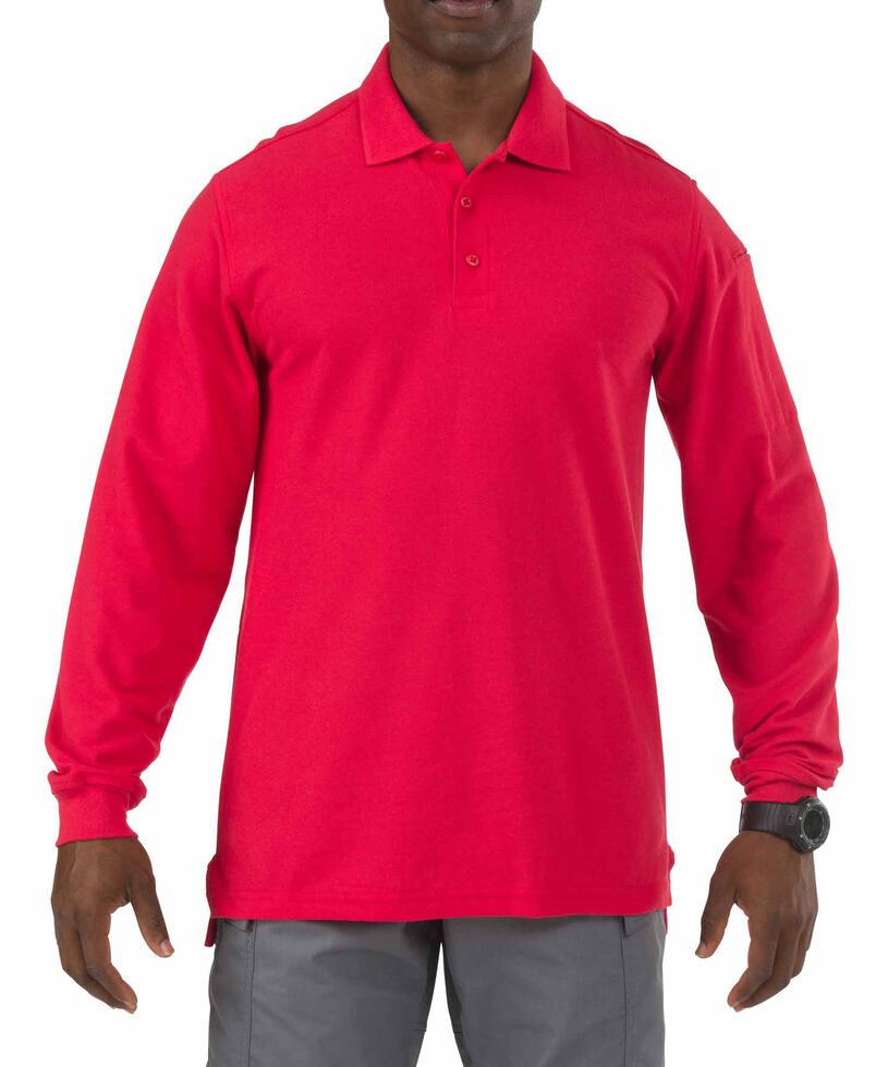 5.11 Tactical Utility Long Sleeve Polo Shirt - 3XL, Red, hi-res