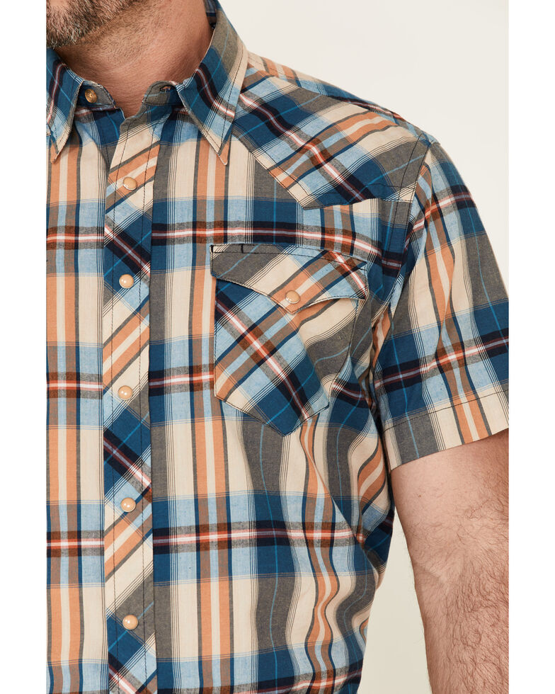 West Made Men's Tile Plaid Short Sleeve Snap Western Shirt , Blue, hi-res