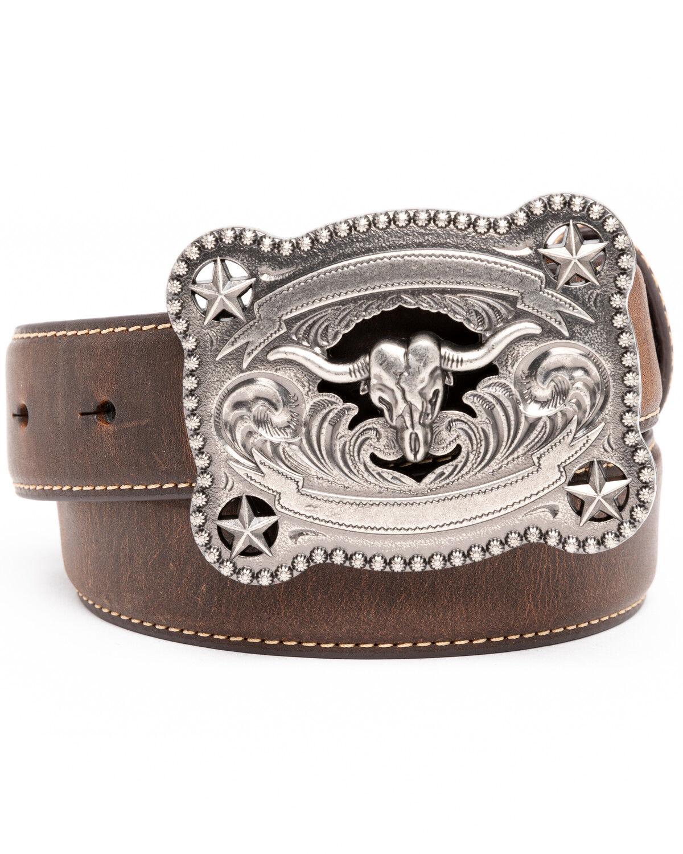 Brown//Tan 28 M/&F Western Boys Floral Embossed Horsehead Buckle Belt Little Kids//Big Kids