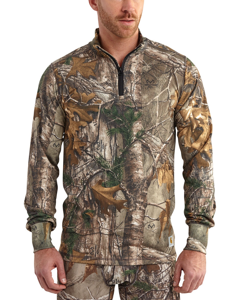 Carhartt Men's Camo Base Force Extremes Cold Weather Quarter-Zip Pullover - Tall , Camouflage, hi-res