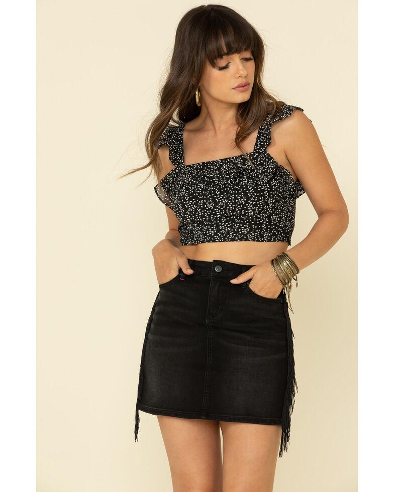 Very J Women's Ditzy Floral Print Ruffle Shoulder Crop Top, Black, hi-res