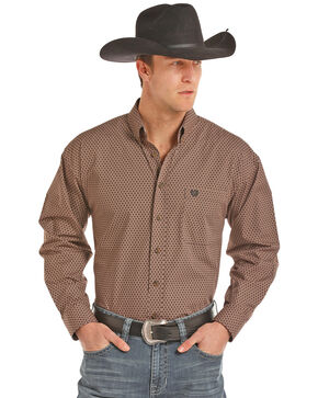 Panhandle Select Men's Peached Poplin Geo Print Long Sleeve Western Shirt , Brown, hi-res