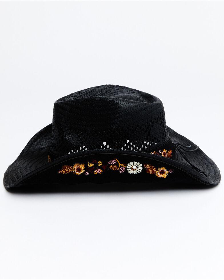 Shyanne Women's Black Ames Straw Drifter Western Hat , Black, hi-res