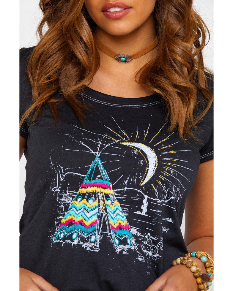White Label by Panhandle Women's Tee-Pee Graphic Tee , Black, hi-res