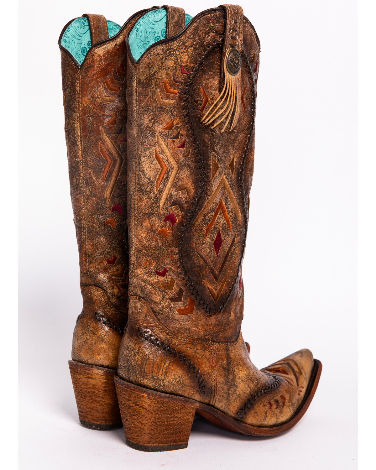1459255be151 Corral Aztec Embroidered Whipstitched Cowgirl Boots - Snip Toe ...