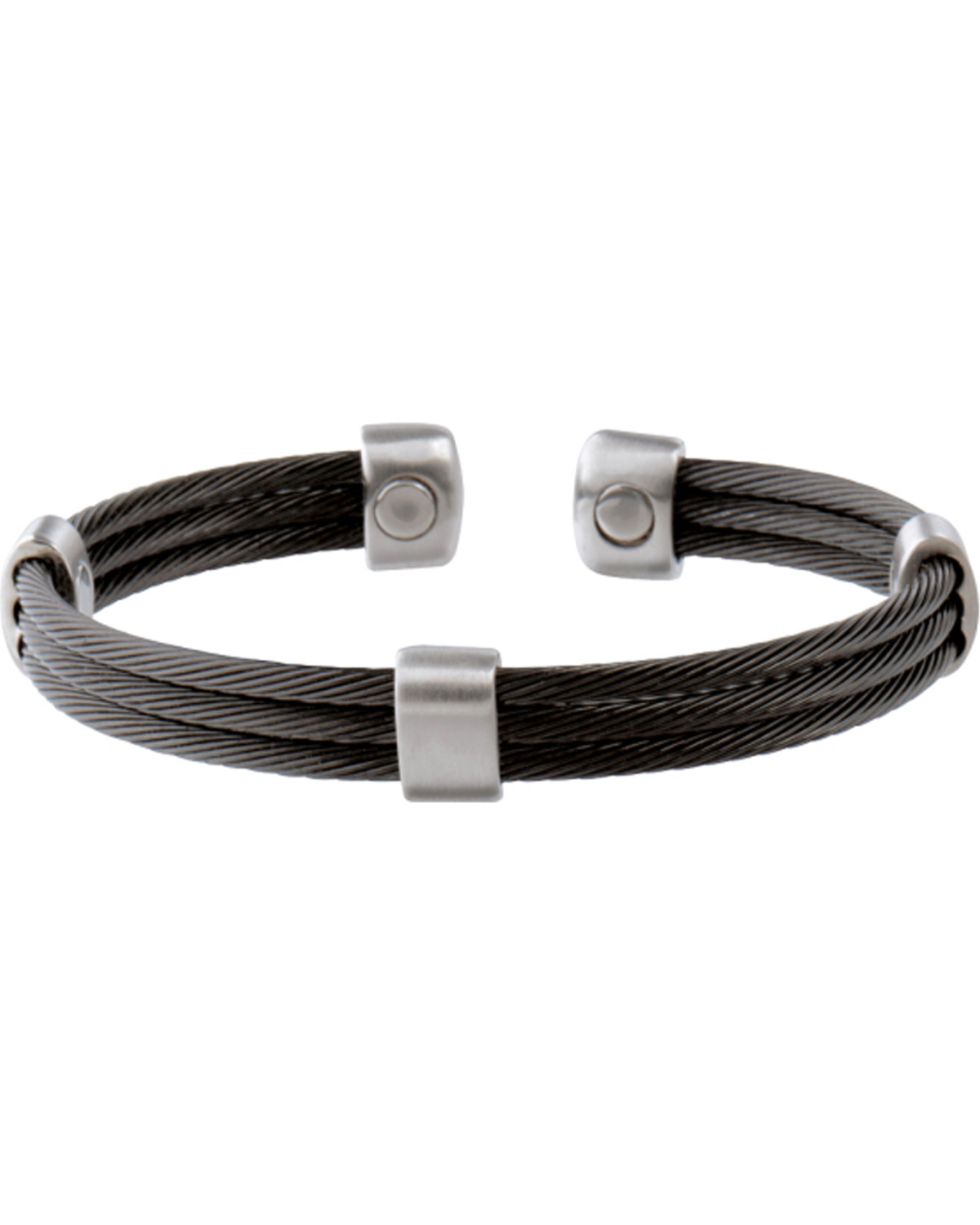 Sabona Trio Cable Black Satin Stainless Magnetic Wristband Two Tone