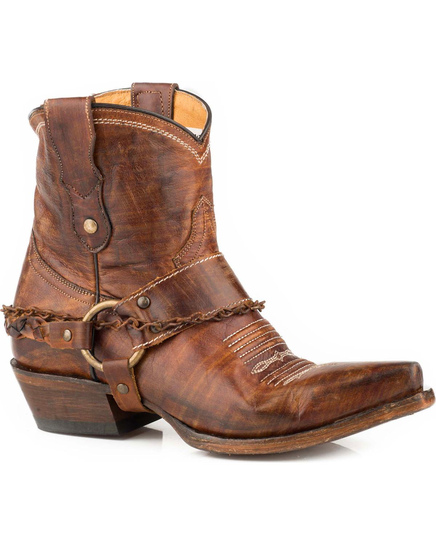 Roper Women S Brown Selah Leather Booties Snip Toe
