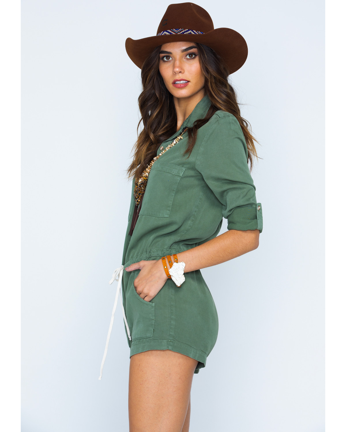 fcbc3b5fee6e Glam Women s Utility Cargo Drawstring Romper - Country Outfitter