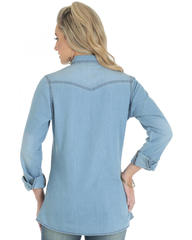 bfce7a49f8f Wrangler Women s Premium Long Sleeve Denim Shirt - Country Outfitter