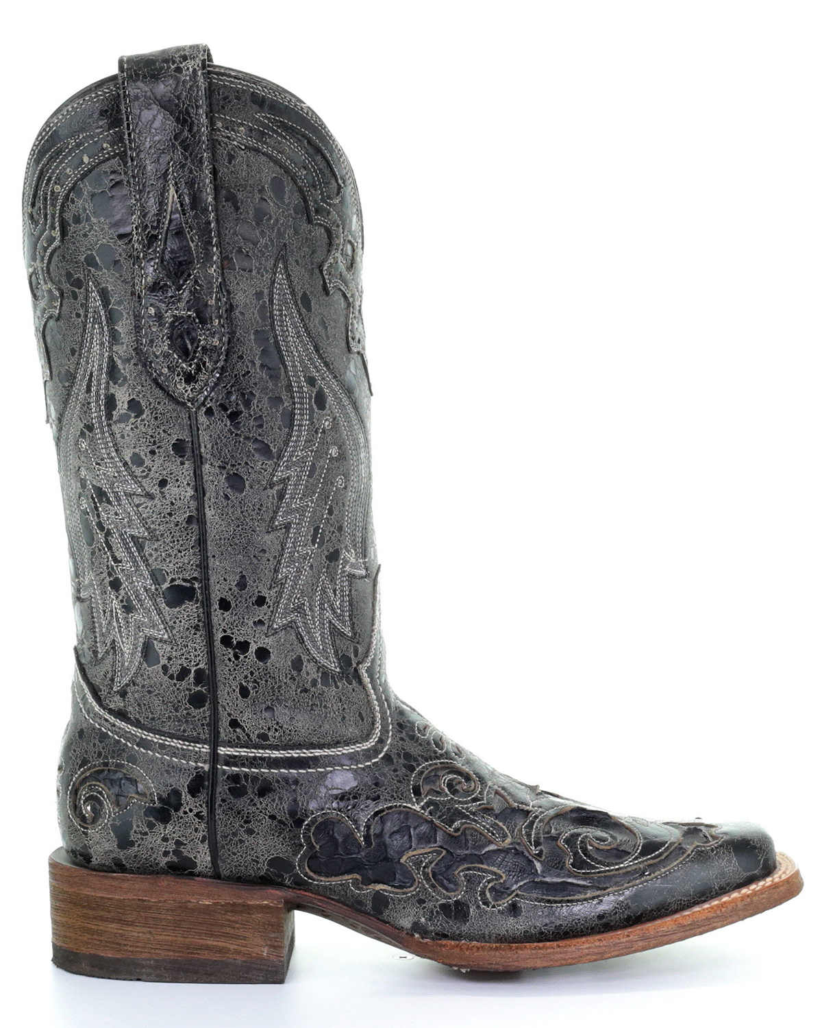 16f1eae12144 Corral Vintage Black Python Inlay Cowgirl Boots - Square Toe ...