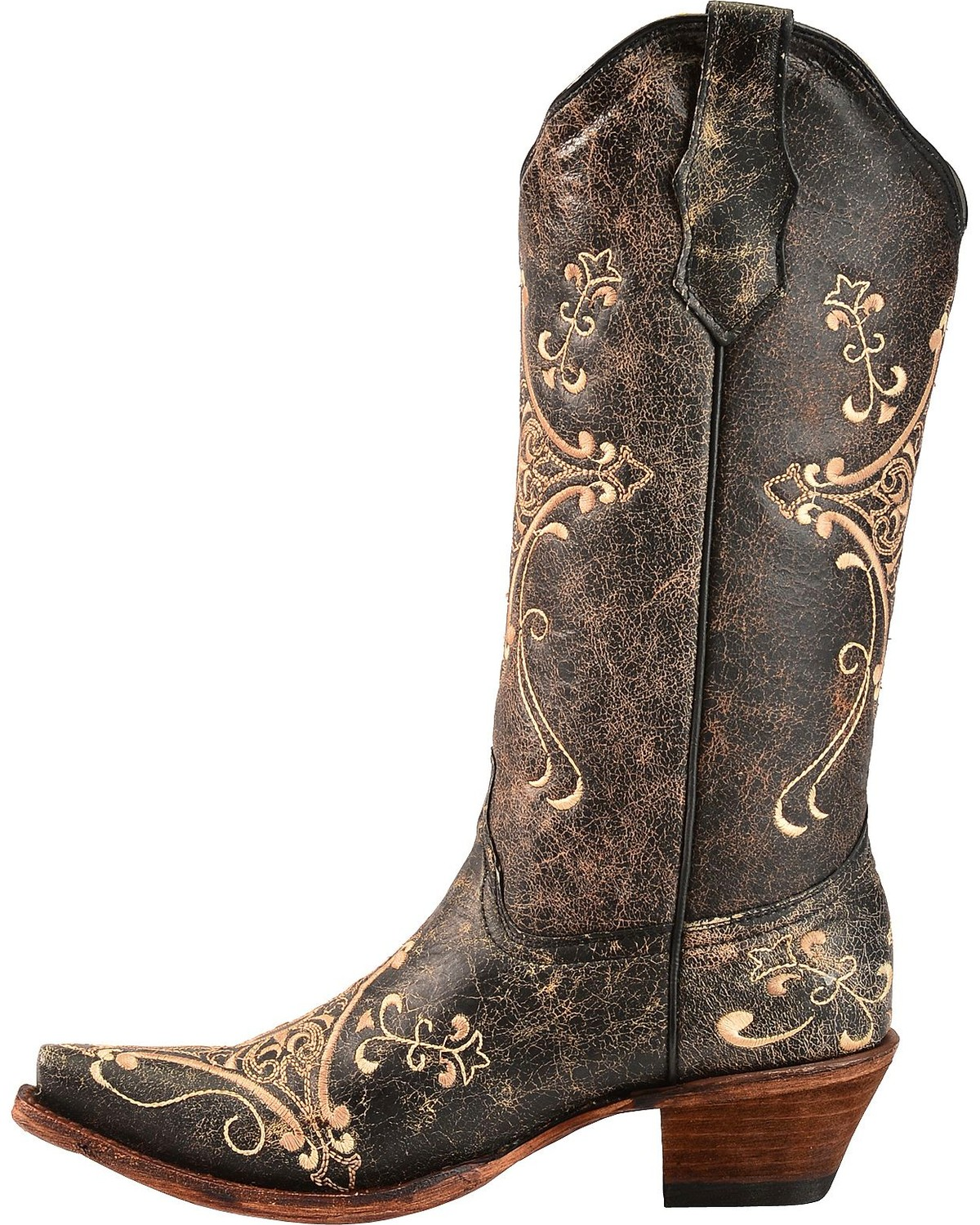 Circle G Crackle Tan Embroidered Cowgirl Boots Snip Toe