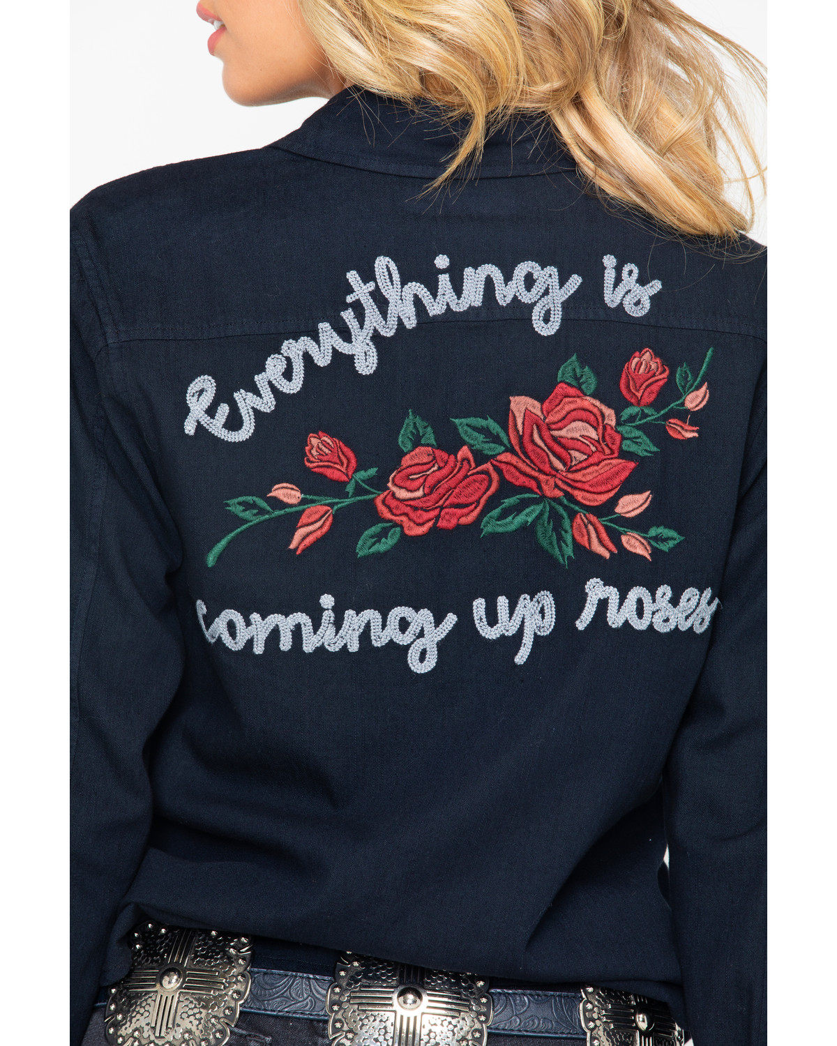 Rock And Roll Cowgirl Womens Rose Embroidered Long Sleeve Shirt