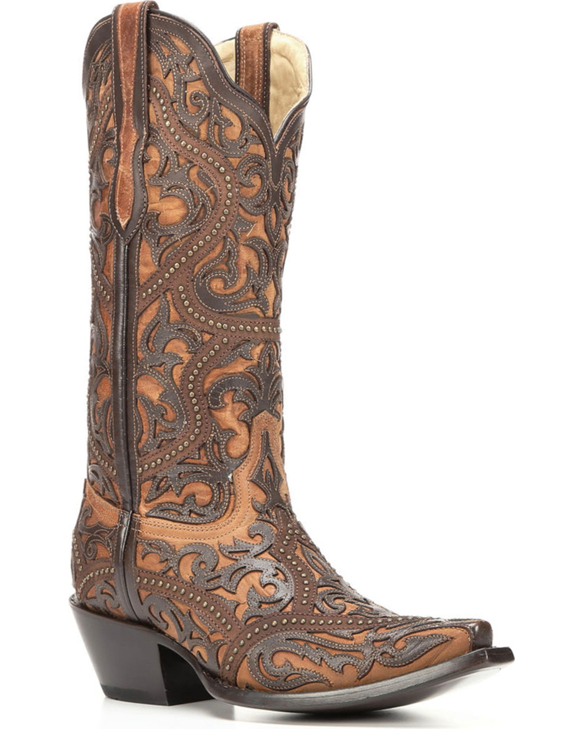 Corral Women S Brown Full Overlay Boots Snip Toe