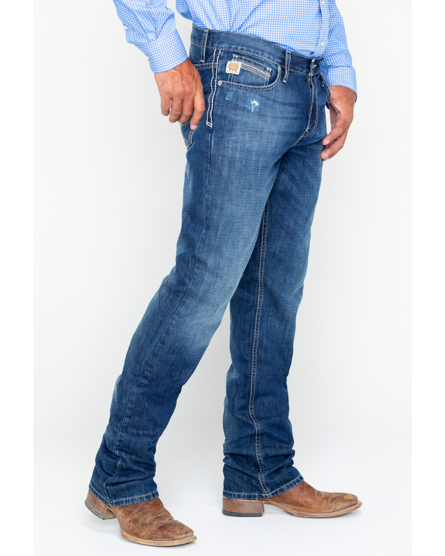 46ed653f Cinch Men's Ian Dark Stonewash Slim Fit Boot Cut Jeans, Indigo, hi-res