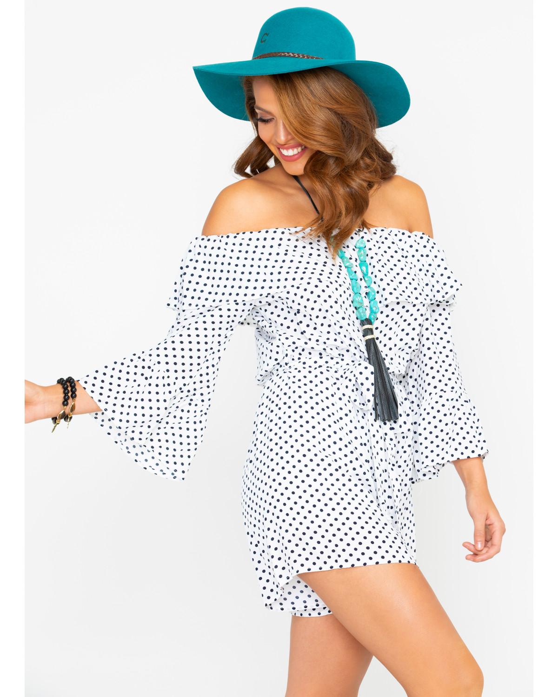 60d6256fcfe CES FEMME Women s Black Polka Dot Ruffle Romper - Country Outfitter
