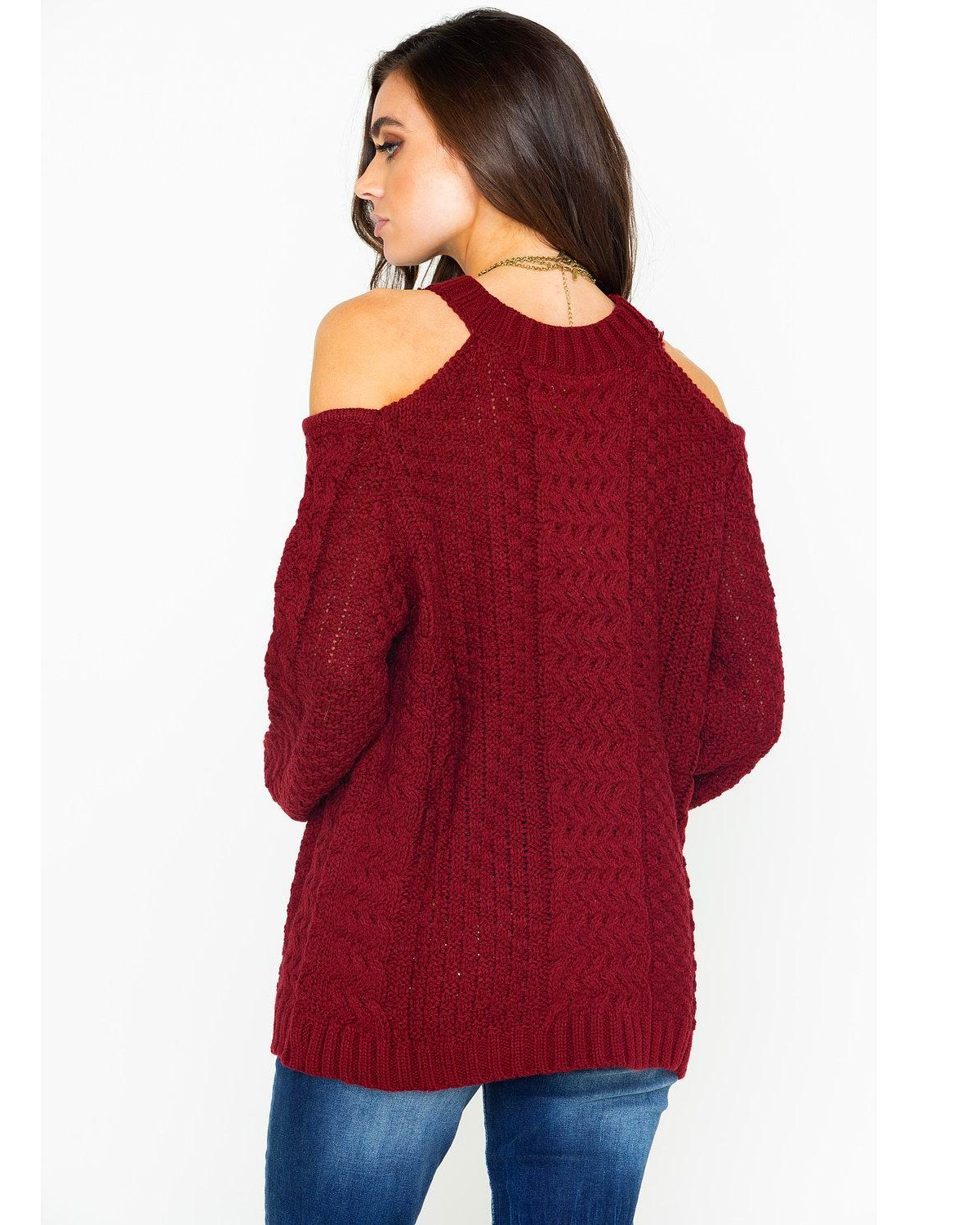 b7761768add2e2 Elan Women s Cold Shoulder Keyhole Cable Knit Sweater - Country ...