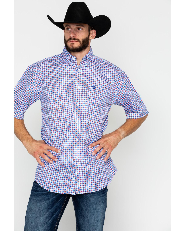 cbe8590bb George Strait by Wrangler Men's Geo Print Button Long Sleeve Western Shirt  , Red/white