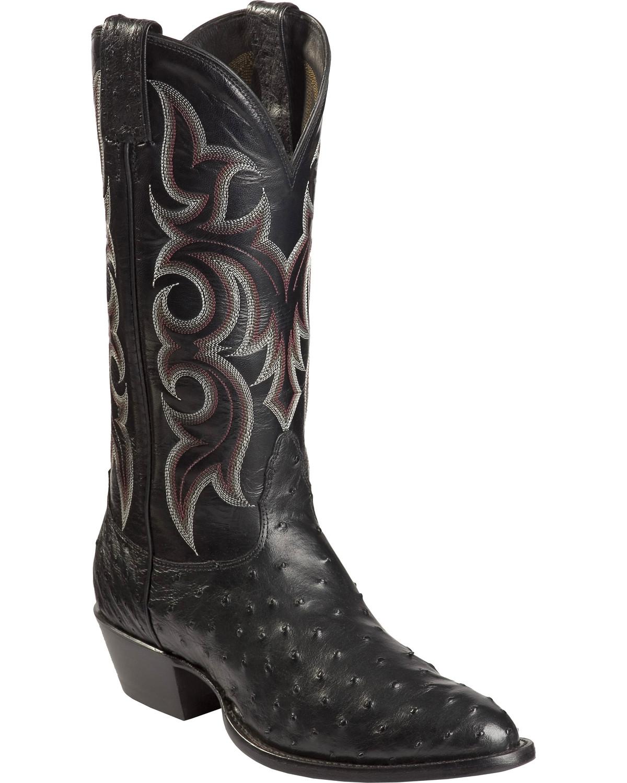Nocona Full Quill Ostrich Cowboy Boots Medium Toe
