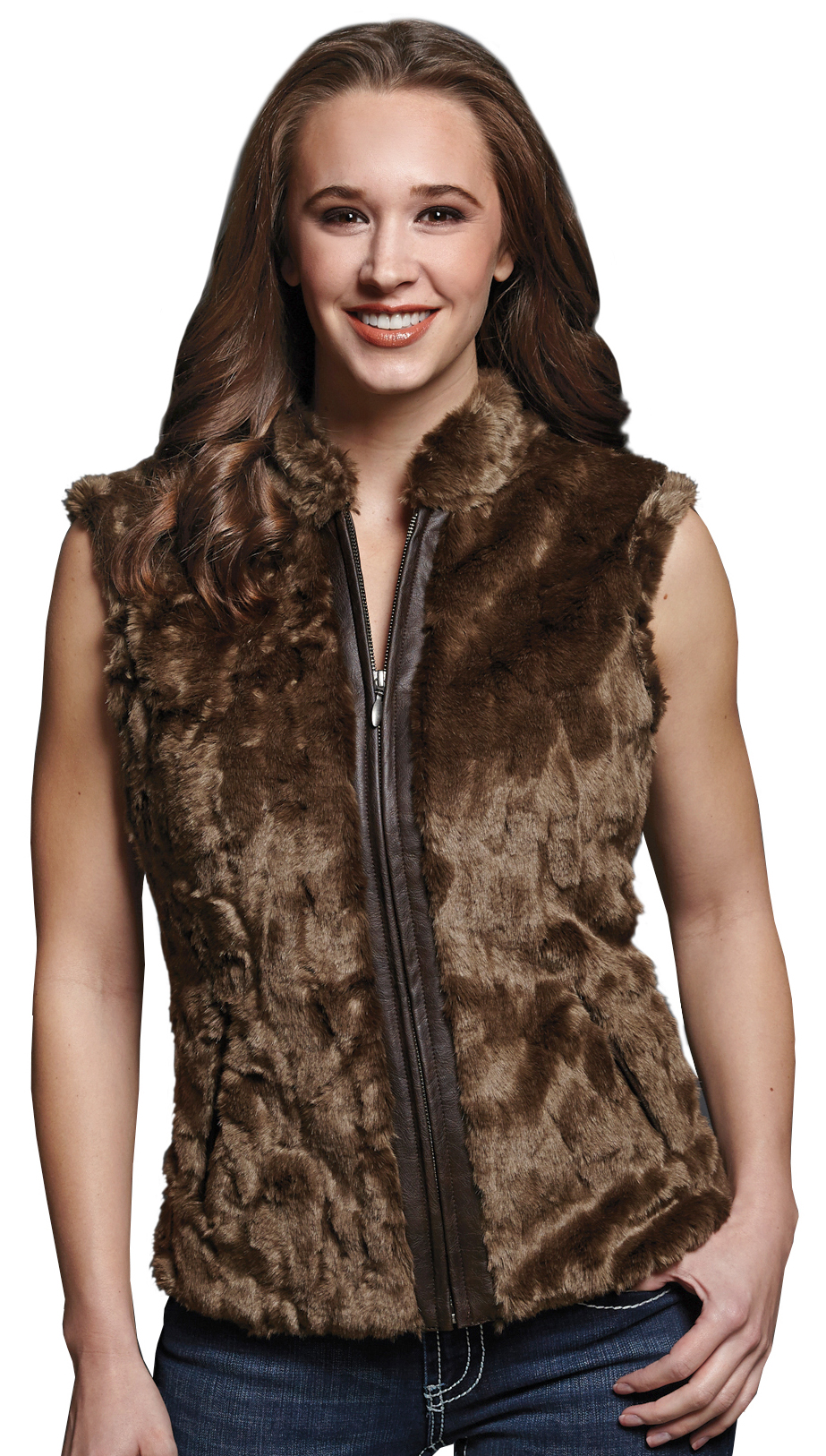 Cripple Creek Women's Faux Fur Brown Sweater Vest - Country Outfitter