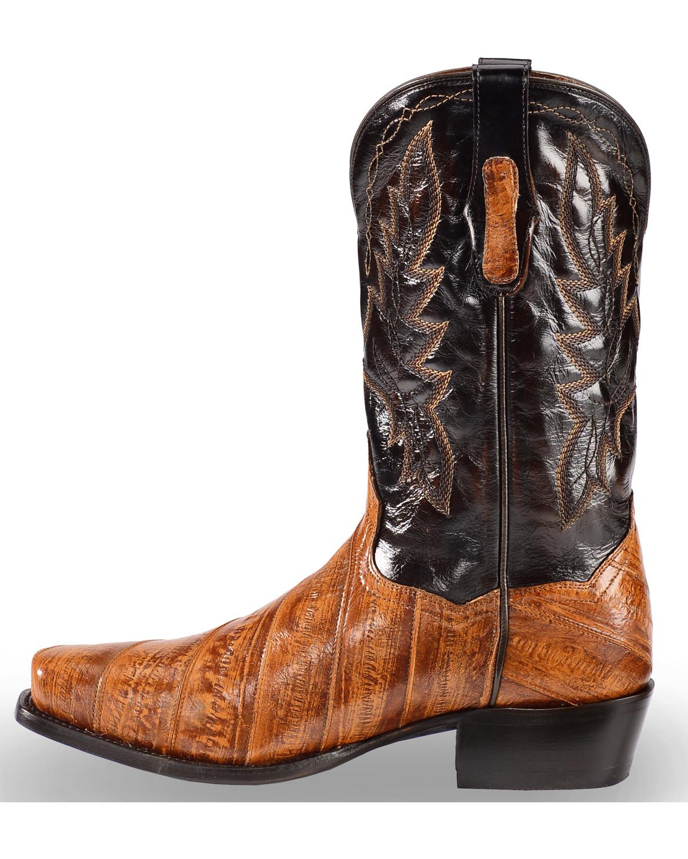 Dan Post Men S Two Tone Eel Cowboy Boots Square Toe